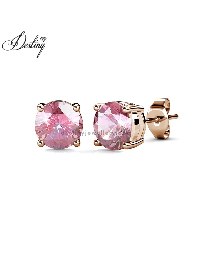 Solitaire Stud Earrings (Rose Gold)