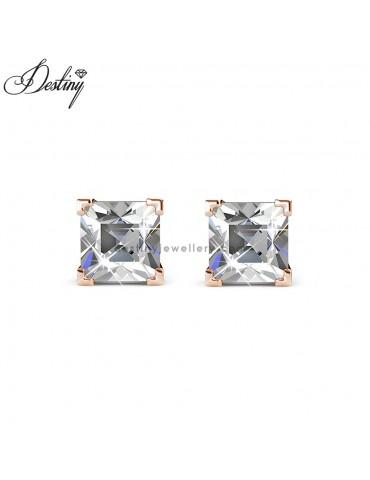 Princess Square Earrings (Rose Gold)
