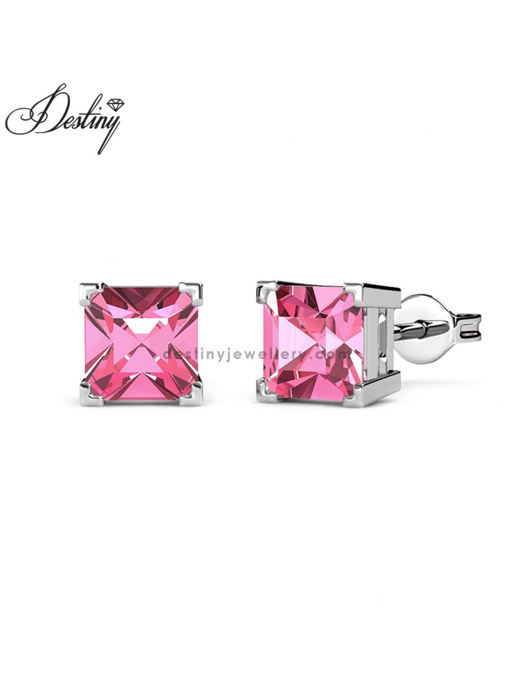 Princess Square Earrings (White Gold)