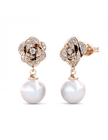 Glamour Pearl Rose Earrings